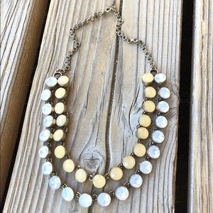 🎁 Stunning LOFT Milky Crystal Double Necklace!